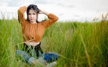 grass, girl, look, hair, face, asian