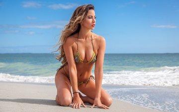 небо, девушка, море, поза, блондинка, песок, пляж, взгляд, модель, грудь, лицо, dean preston