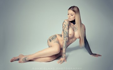 girl, blonde, model, tattoo, chest, hair, face