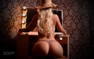girl, pose, blonde, panties, mirror, model, light bulb, figure, hat, bra, ass, alex kologriff