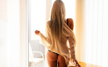 girl, blonde, model, back, hair, ass