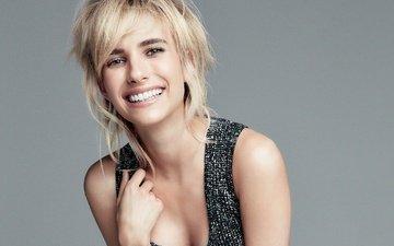девушка, блондинка, улыбка, взгляд, волосы, лицо, актриса, эмма робертс