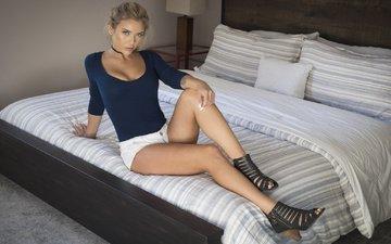 девушка, блондинка, взгляд, модель, тату, ножки, волосы, лицо, neesy риццо