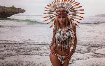 nature, blonde, look, model, feathers, headdress, evgenia angelova