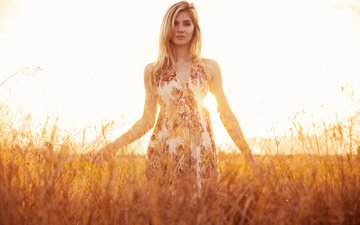 grass, the sun, nature, girl, dress, blonde, field, look, model, hair, face, hairstyle