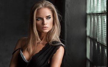 girl, blonde, portrait, look, model, hair, face, black dress, eugene marklew