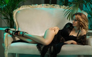 blonde, sofa, negligee, black lingerie, red nails, high heels, stanislav ropac