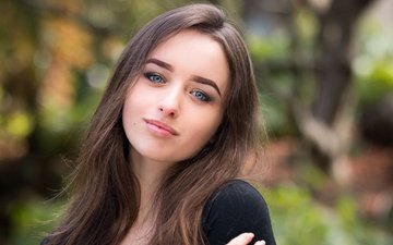 eyes, girl, smile, portrait, brunette, look, model, face, makeup, hairstyle, brown hair, bokeh, james koon ng photography