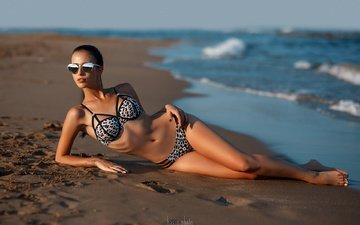 sea, sand, brunette, look, model, bikini, sunglasses, sergey basin