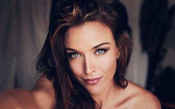 girl, portrait, brunette, look, model, hair, face, makeup, gina carla, sebastian kohler