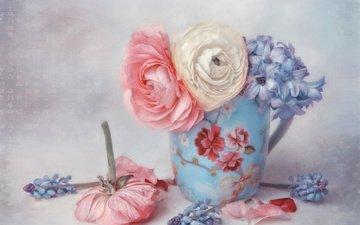 blumen, art., blütenblätter, becher, hyazinthen, butterblumen, lizzy pe