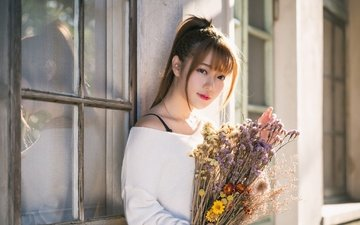 flowers, girl, look, hair, bouquet, face, asian