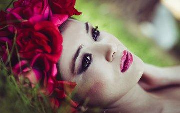 flowers, girl, look, model, hair, face, makeup, wreath, lipstick, javier sánchez