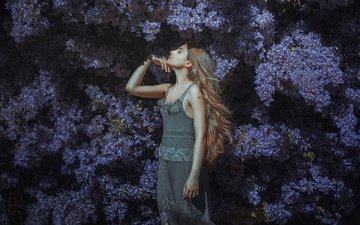 flowers, girl, dress, model, hair, face, posing, closed eyes, alexandra, estival