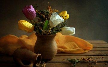 цветы, доски, ткань, букет, тюльпаны, ваза, кувшин, натюрморт, мимоза, elena elena