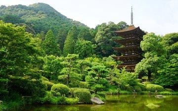 деревья, горы, пагода, япония, пруд, ямагучи
