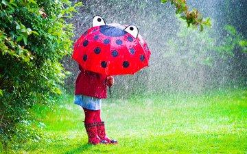 grass, branches, children, girl, rain, umbrella, child