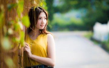 девушка, взгляд, волосы, лицо, азиатка, боке