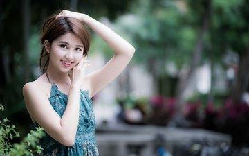 девушка, платье, улыбка, взгляд, волосы, лицо, азиатка, боке