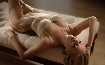 girl, blonde, stockings, hair, face, underwear, closed eyes, mattress, maarten quaadvliet