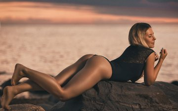 sunset, girl, sea, blonde, model, swimsuit, posing, lying, closed eyes