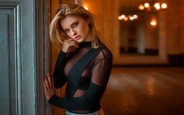 девушка, блондинка, взгляд, модель, волосы, лицо, дамиан piórko, карла sonre