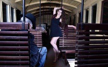 девушка, люди, креатив, танец, мужчина, вагон, стриптиз, соблазнение