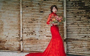 flowers, girl, brunette, model, bouquet, lipstick, asian, red dress