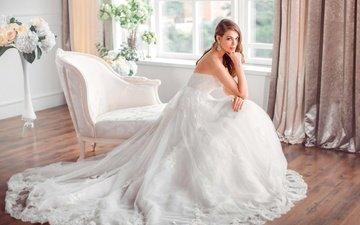 девушка, блондинка, взгляд, модель, волосы, лицо, голубые глаза, белое платье, невеста