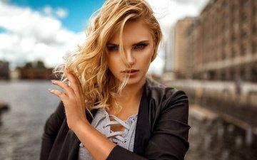 девушка, блондинка, портрет, взгляд, модель, волосы, лицо, миро hofmann