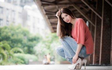 girl, smile, brunette, look, model, jeans, hair, face, ellen, high heels