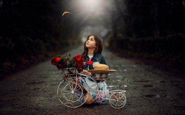 road, flowers, girl, sheet, child, hat, bike, flowerpots, marhraoui
