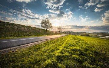 небо, дорога, облака, природа, дерево, пейзаж