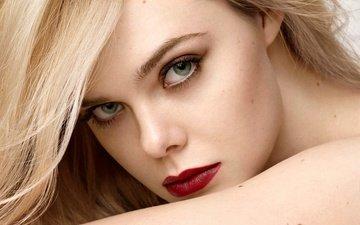 девушка, блондинка, взгляд, волосы, лицо, макияж, эль фаннинг, элли фаннинг, l'oreal paris