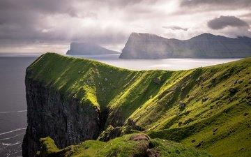 the sky, clouds, rocks, sea, coast, faroe islands
