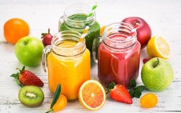 напиток, фрукты, яблоки, клубника, ягоды, киви, банки, цитрусы, сок, смузи