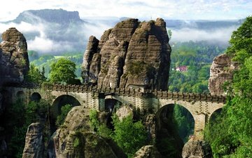 облака, деревья, горы, мост, германия, панорма, эльба, мост бастай