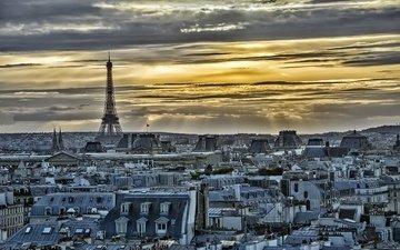город, дома, париж, франция, эйфелева башня, городской пейзаж