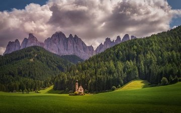 the sky, clouds, trees, mountains, forest, italy, church, church of st. johann, bolzano