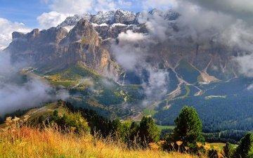 небо, облака, горы, италия, трентино-альто-адидже, santa cristina valgardena