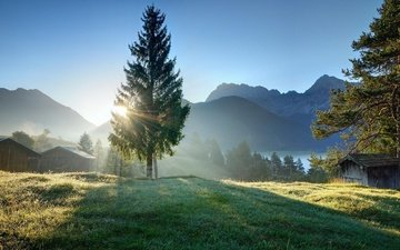 небо, трава, деревья, горы, природа, домик, солнечный свет