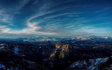 небо, облака, горы, природа, пейзаж, горизонт