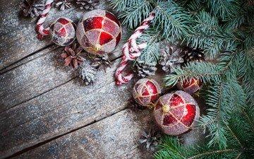 новый год, елка, хвоя, ветки, игрушки, рождество, шишки, елочные игрушки, леденцы