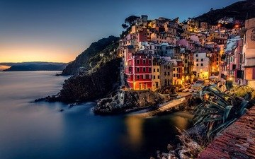 night, lights, rocks, the city, italy, the ligurian sea, riomaggiore, liguria, cinque terre