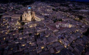 night, lights, the city, italy, sicily, piazza armerina