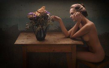 цветы, девушка, модель, позирует, голая, katya clover