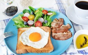 зелень, кофе, бутерброд, хлеб, овощи, тарелка, помидоры, яйцо, салат, яичница, бекон