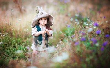 цветы, трава, лето, ребенок, костюм, малыш, шляпа, колпак, irina nedyalkova