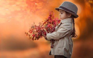 листья, ветки, осень, девочка, профиль, ребенок, шляпа, пальто, косичка, lilia alvarado