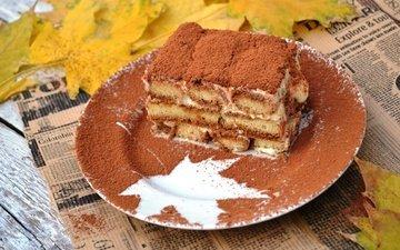 leaves, foliage, maple leaf, sweet, cake, dessert, cocoa